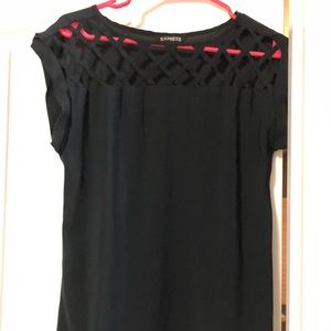 Express Black Cutout Design Collar Shirt